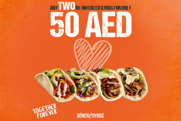 Any Two Re-Invented Gyros For Only 50AED